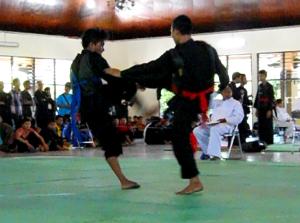 Dua peserta kejuaraan pencak silat SMA tingkat Nasional tengah beradu ketangkasan | foto: Indra