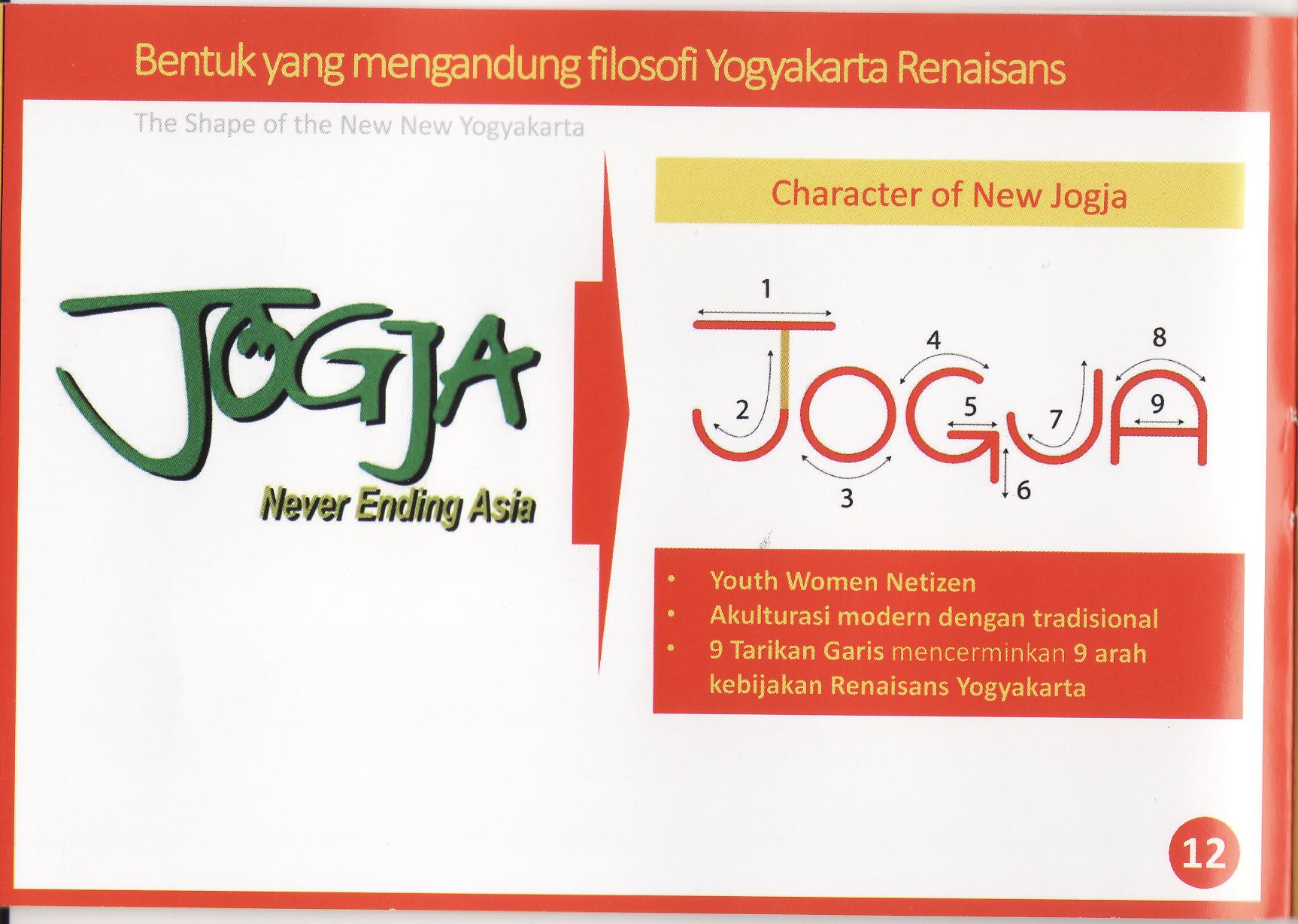"Rancangan grafis desain logo baru Yogyakarta dengan semboyan ""Jogja Never Ending Asia"". Foto: KRJogja.com"