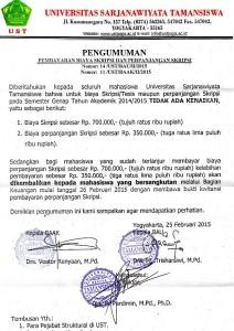 Surat Pengumuman pembatalan kenaikan biaya perpanjangan skripsi yang dikeluarkan oleh BAU dan BAAK. foto: Doc. facebook UST