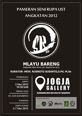 "Pamflet Pameran Seni Rupa ""Mlayu Bareng""merupakan pameran seni rupa yang diadakan oleh mahasiswa Program Studi Pendidikan Seni Rupa UST tahun angkatan 2012.  Doc/Indah."