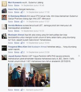 Komentar netizen di laman facebook Humas UST.