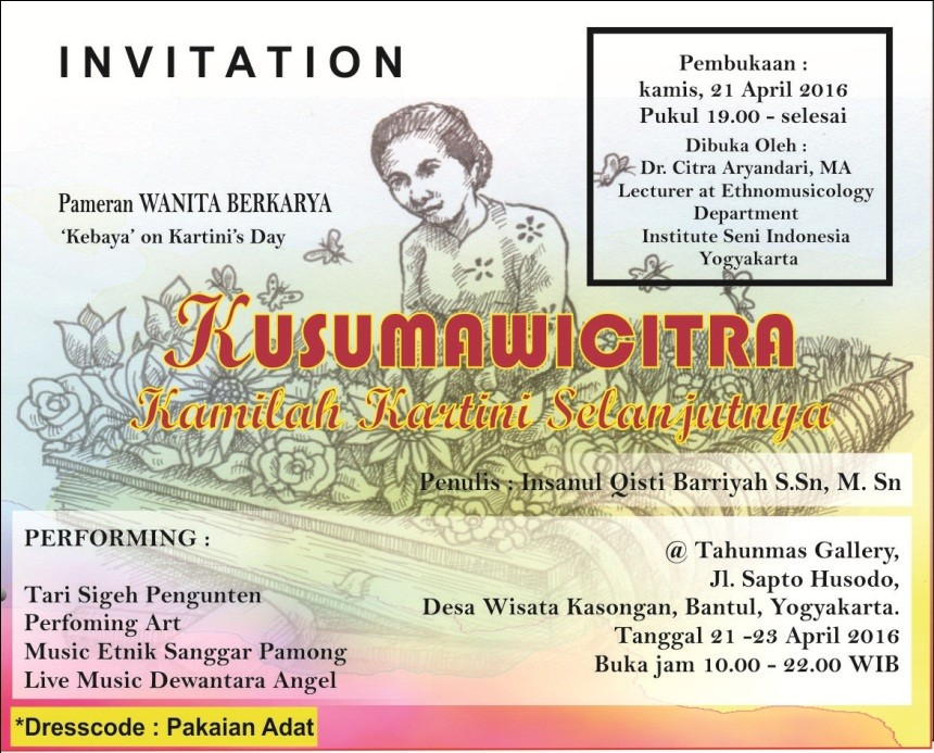 Poster publikasi pemeran wanita berkarya; Kusumawicitra, kamilah kartini selanjutnya. (Dok.Aziz/Pendapa)