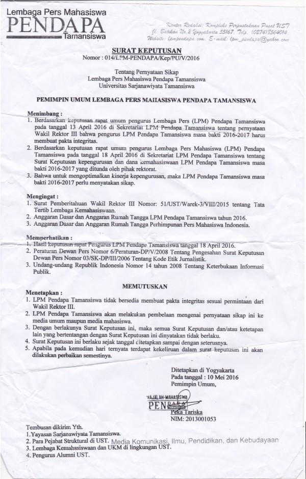 2. Surat Keputusan tentang pernyataan sikap LPM Pendapa menolak menandatangani Pakta Integritas